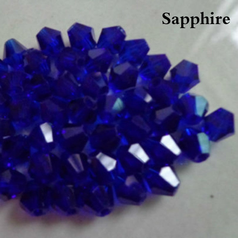 100Pcs  4MM*3MM Faceted Bicone Flicker Glass Crystal Spacer 4mm Jewellery Making  Loose Beads