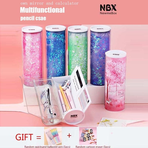 Quicksand  stationery box elementary school junior high school student multi-function cylindrical cylindrical pen case