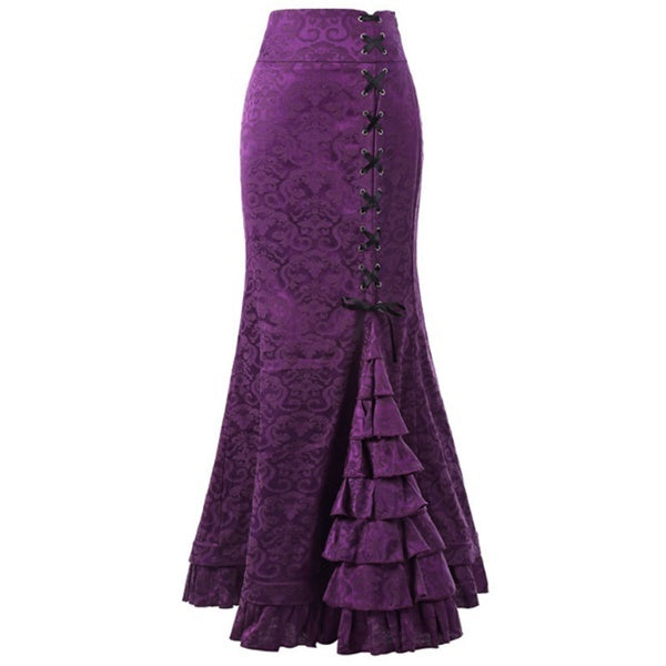 Women's Fashion Vintage Gothic Fishtail Skirt Steampunk Long Mermaid Dress