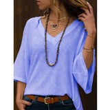 NEW Women Casual V-Neck 3/4 Sleeves T Shirt Summer Solid Color Loose Tops Fashion Pagoda Sleeve Shirts Plus Size Pullovers Blouses