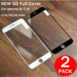 2Pack Full Screen Protection Tempered Glass For iPhone Xs XR Xs Max X 8 7 Screen Protector Film For iPhone 6 6s Plus 5 5S SE 5C Explosion Proof