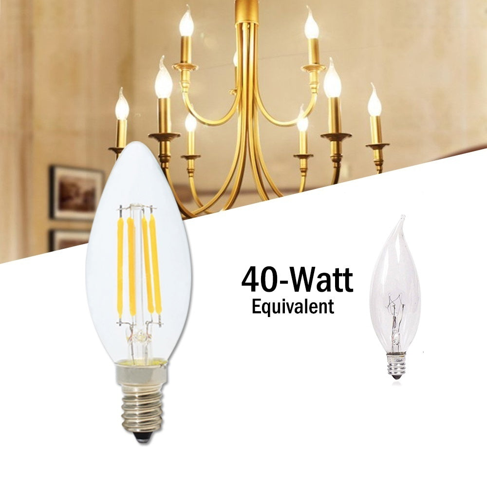 10-Pack LED Candelabra Bulb 4W, 40W Equivalent E14 Base Dimmable LED Candle Bulbs, C35 Clear Glass Torpedo Shape Bullet Top, 360 Degrees Beam Angle, 2700K Warm White [Energy Class A+]