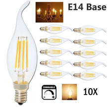Load image into Gallery viewer, 10-Pack LED Candelabra Bulb 4W, 40W Equivalent E14 Base Dimmable LED Candle Bulbs, C35 Clear Glass Torpedo Shape Bullet Top, 360 Degrees Beam Angle, 2700K Warm White [Energy Class A+]