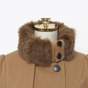 Womens New Style Vintage Woolen Coat Slim Trench Coats Lady Fur Collar Peacoat Winter Woolen Coat Jackets Outwear Plus Size 5XL
