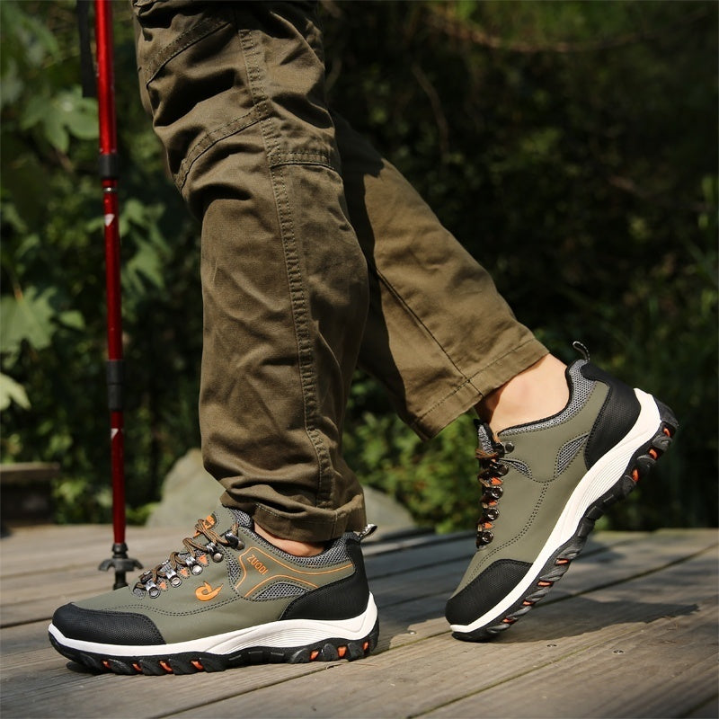 Outdoor Fashion Men Hiking Shoes Casual Non Slip Rock Mountain Climbing Sports Shoes Lace Up Breathable Camping Leather Sneakers for Men