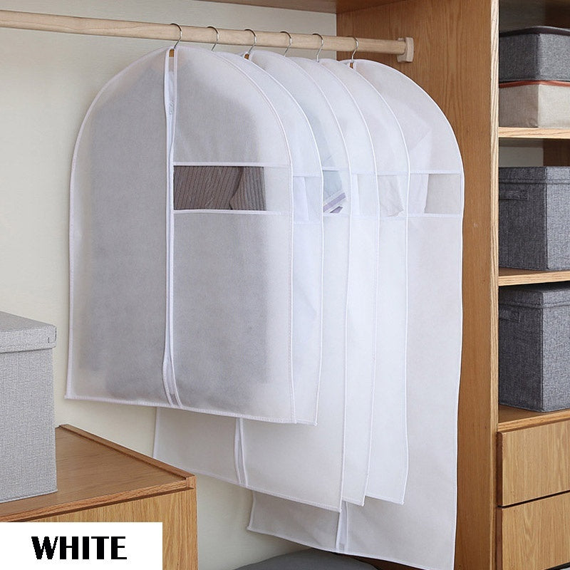 1/6Pcs Clothes Dust Cover Non-woven Fabric Case for Household Hanging-type Coat Suit Protect Storage Bag Wardrobe Organizer