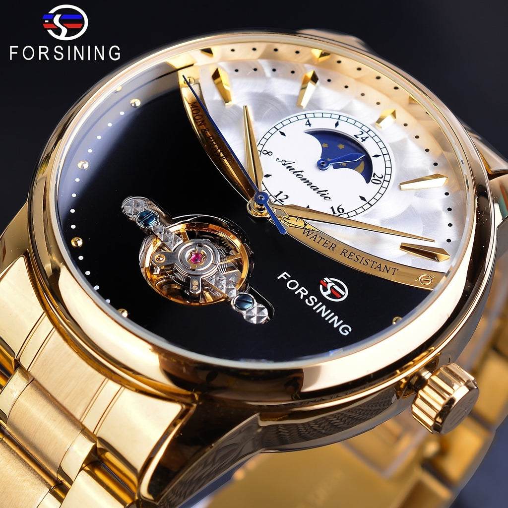 Forsining Men Tourbillon Mechanical Watch Golden Moon Phase Steel Band/leather Strap Business Watches Fashion Gifts for Men with Gift Box