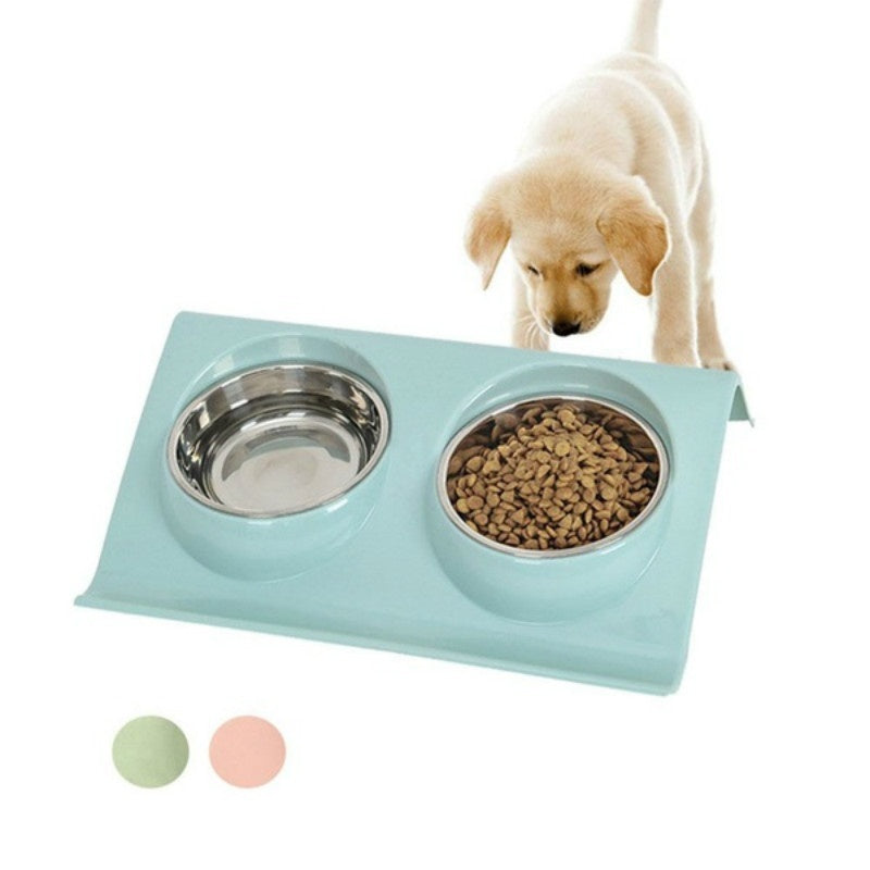 1set 2019 Large Size Double Dog Bowl Pet Feeding Station Stainless Steel Water and Food Bowls Feeder Solution for Small Dogs and Cats