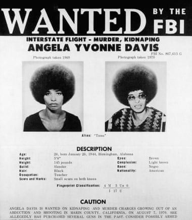"Reprints of the FBI's ""Wanted"" poster of Angela Davis graced the walls of many college dorm rooms in the fall of 1970 when Davis was on the run. Top: Three versions of Félix Beltrán's most famous image of Angela Davis, first printed in Cuba in 1971."