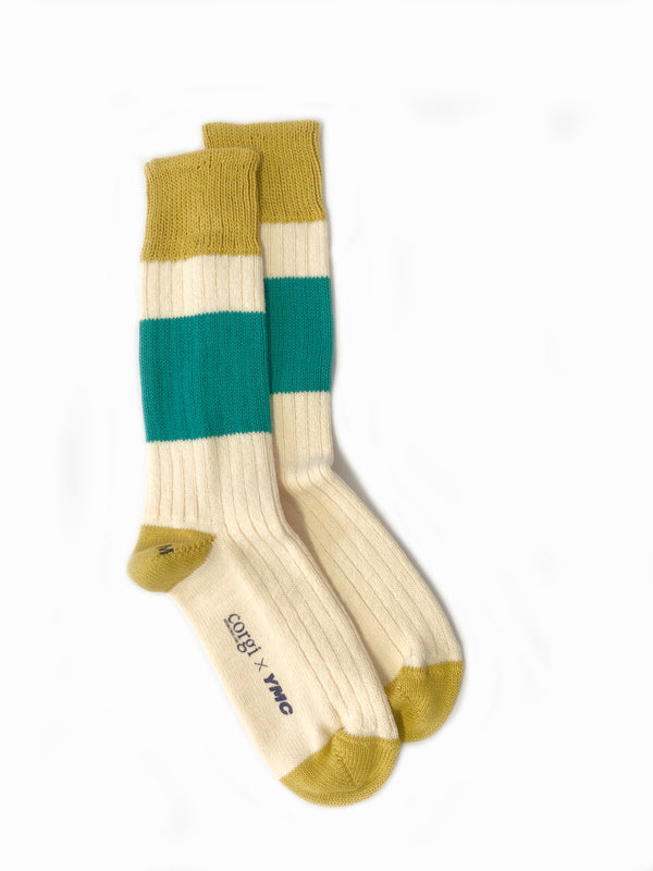 Sporty x Corgi Sock . Yellow Green<br><strong>RRP £20 Now £12</br></strong>