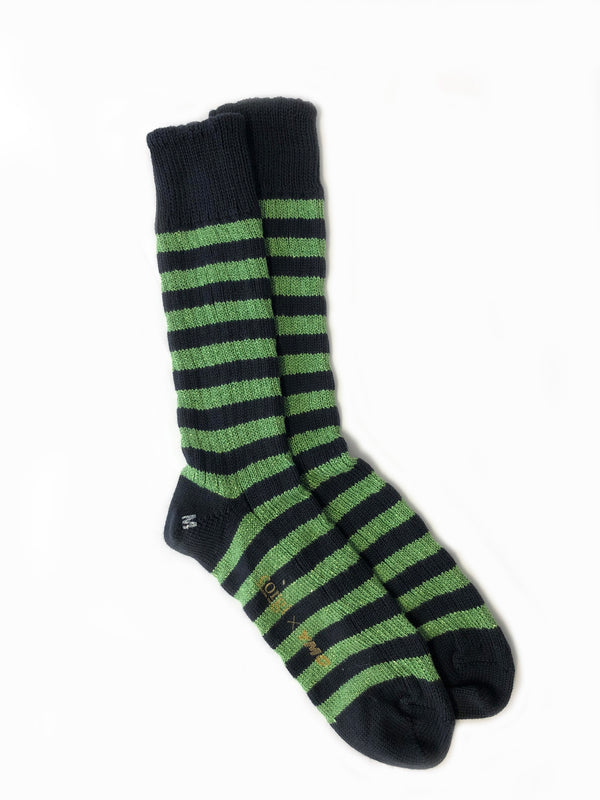 Party Stripes x Corgi Sock . Green