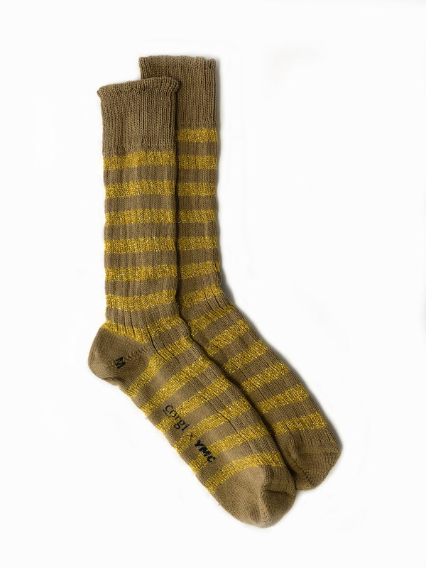 Party Stripes x Corgi Sock . Gold