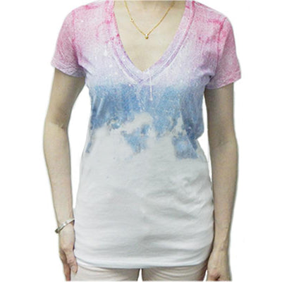 ARMANI EXCHANGE WOMEN V-NECK White Shirt With Deep Pink & Blue Design - BEST BUY WORLD MALAYSIA