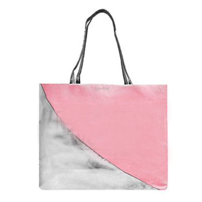 REVEAL Salmon Pink and Silver Shopping Bag