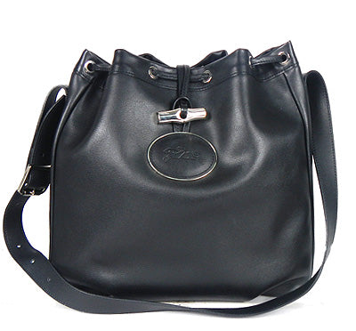 LONGCHAMP ROSEAU Drawstring Leather Bag (Black) - BEST BUY WORLD MALAYSIA