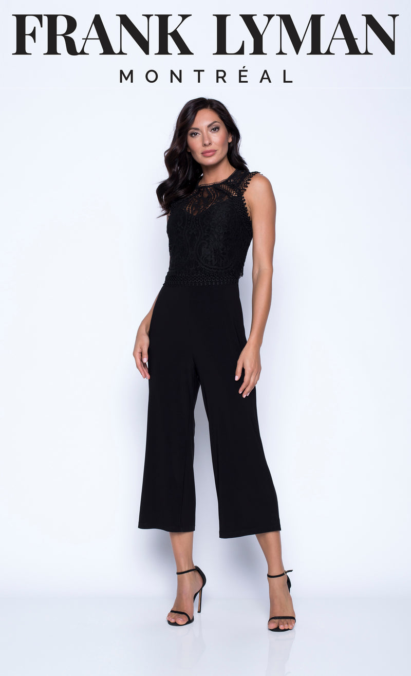 Frank Lyman Lace Effects Cropped Jumpsuit