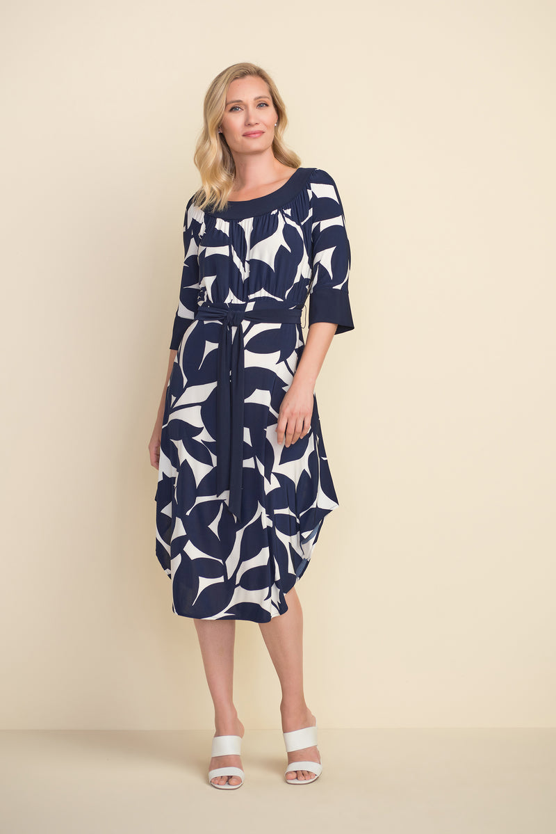 Joseph Ribkoff Vibrant Navy and White Dress