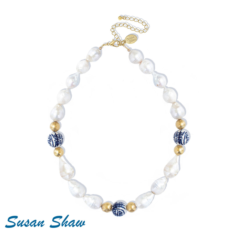 Susan Shaw Blue & White Baroque Pearl Necklace