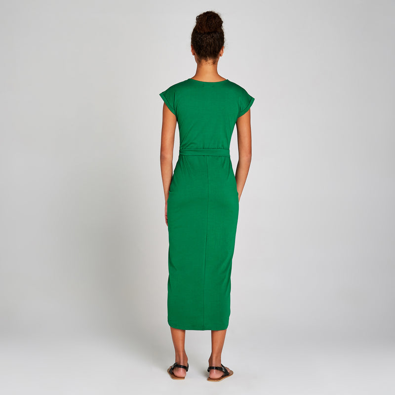 Apricot Emerald Jersey Knit Dress backside