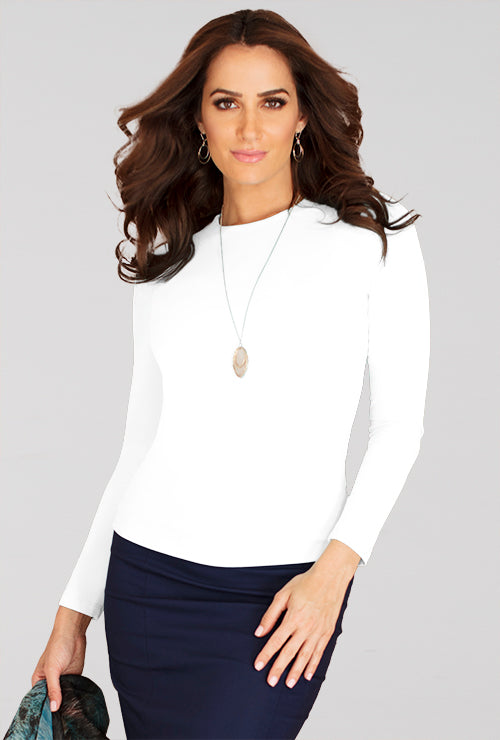 Judy P Jewel Neck Long Sleeve Top
