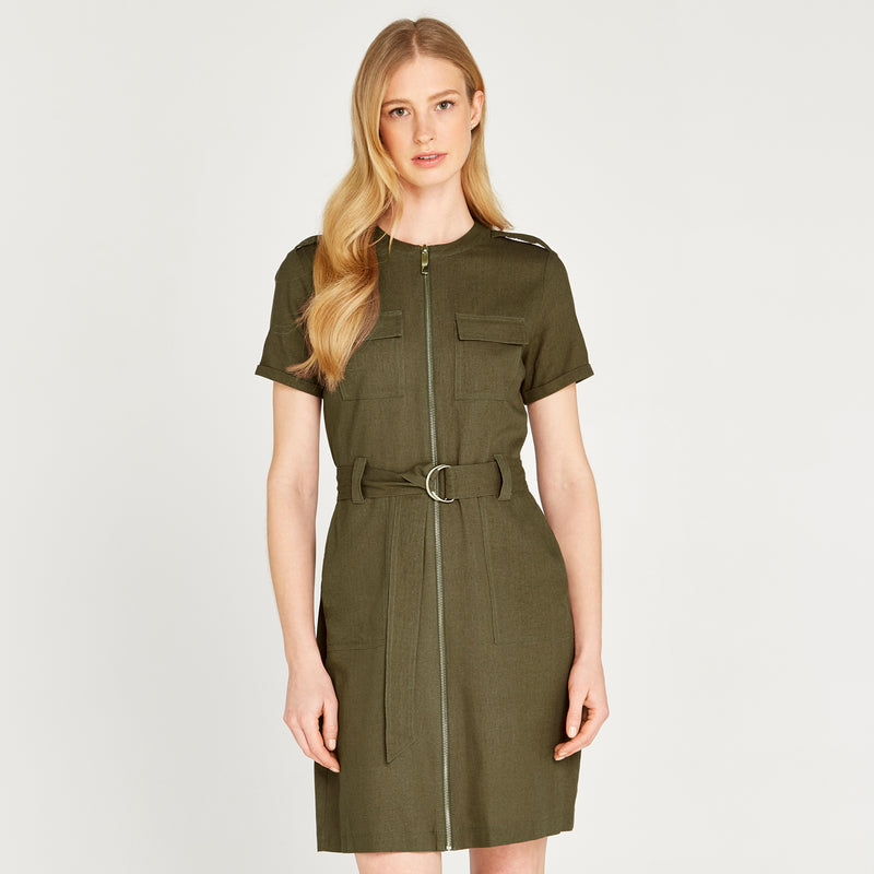 Apricot Marching Orders Deep Olive Dress