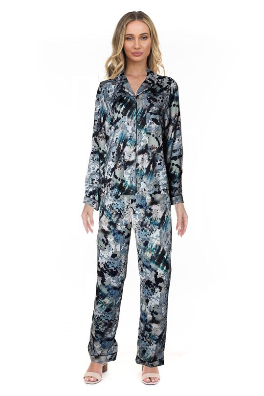 Ann Marie's Boutique Sweet Dreams Watercolor Silky Pajama Set