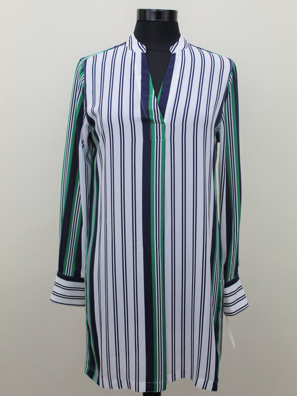 Foxcroft Navy and Emerald Striped Tunic
