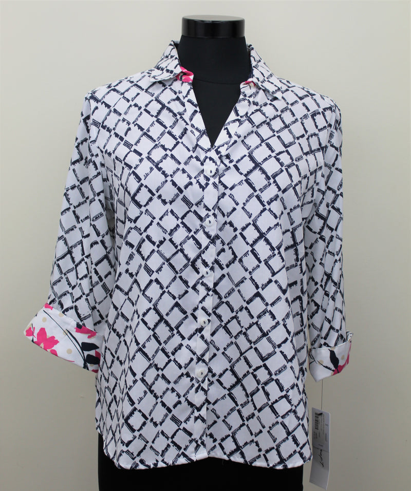 Lattice Pattern Button Down Blouse