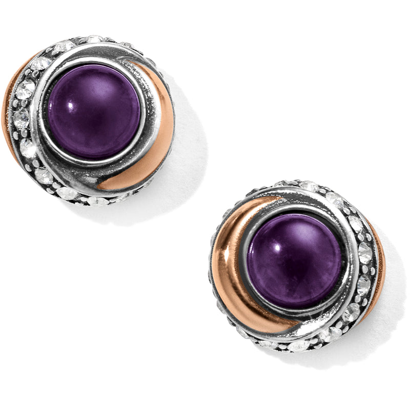 Brighton Neptune's Rings Amethyst Button Earrings
