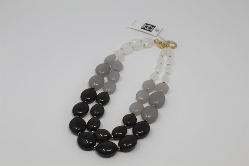 Zenzii Double Strand Oval Bead Necklace