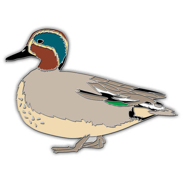 Green winged teal pin badge