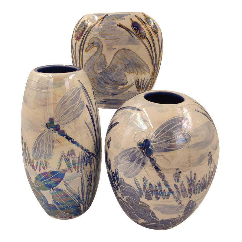 Dragonfly blue lustre skittle vase