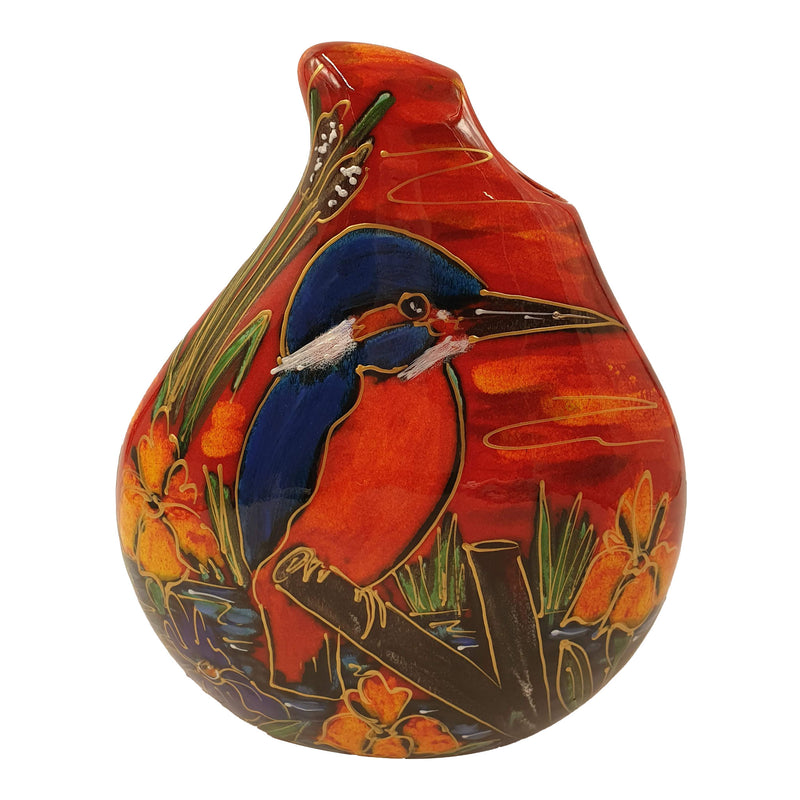 Kingfisher teardrop vase
