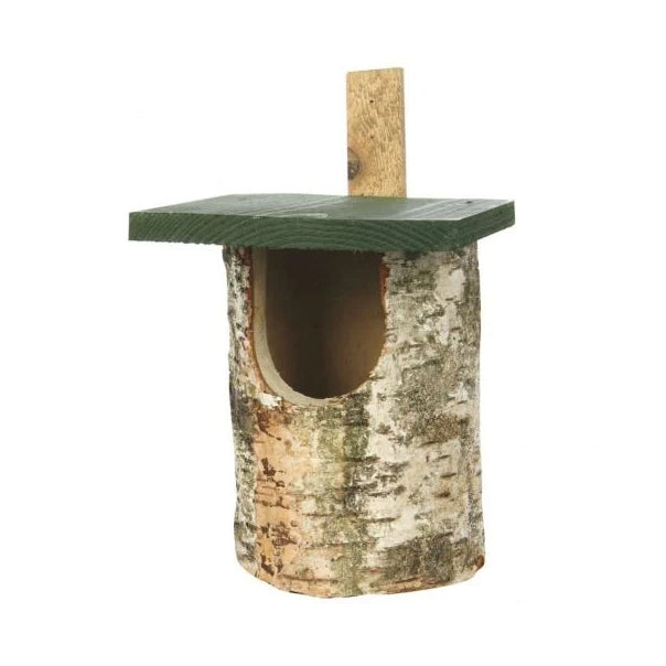 Birch log open nest box