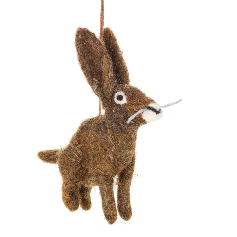 Needle felted hare decoration