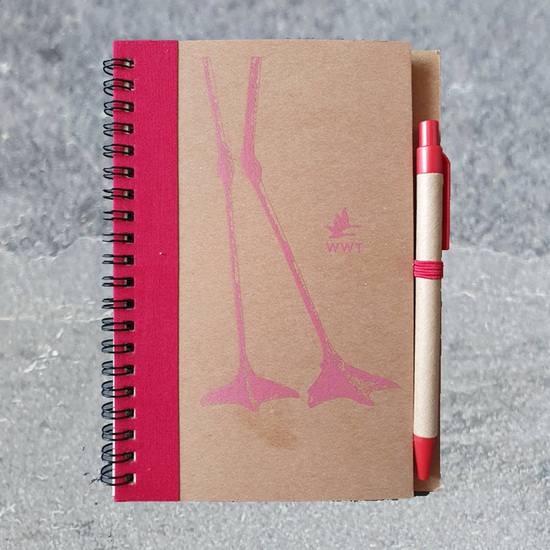 Flamingo recycled notebook (A5) & pen