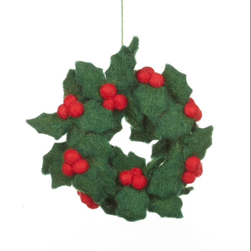 Neddle felted holly wreath decoration