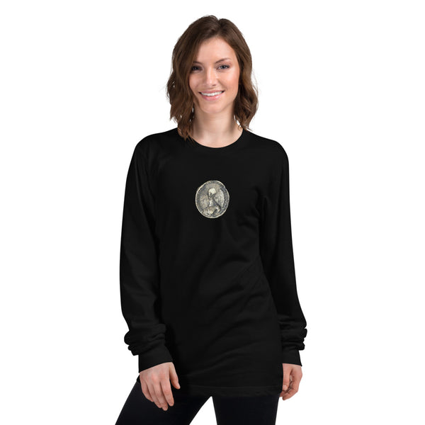 Alien Coin - Women's long sleeve t-shirt - Humans are FREE T-Shirts. Anti establishment T-Shirts. Cov-19, NWO, Celebrity, Funny, Crazy & Alternative T-Shirts for men and women