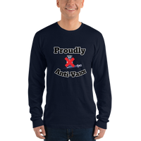 Proudly Anti- Vaxx - Men's long sleeve t-shirt - Humans are FREE T-Shirts. Anti establishment T-Shirts. Cov-19, NWO, Celebrity, Funny, Crazy & Alternative T-Shirts for men and women