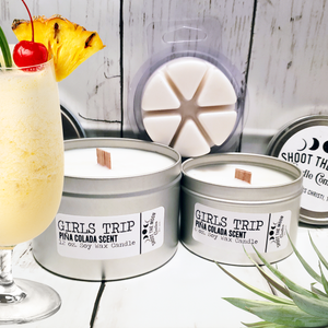GIRLS TRIP (Pina Colada Scent) Soy Wooden Wick Candles & Wax Melts