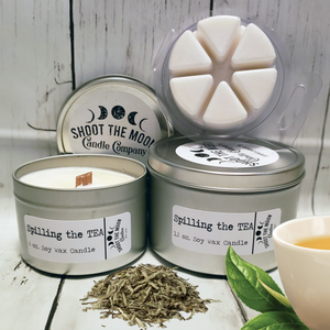 SPILLING THE TEA Soy Wooden Wick Candles & Wax Melts