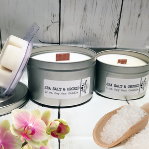 SEA SALT & ORCHID Soy Wooden Wick Candles & Wax Melts