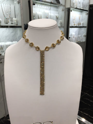 Swarovski Crystal Gold Mesh Linial Necklace