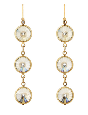 Swarovski crystal gold on gold bezel drop earring