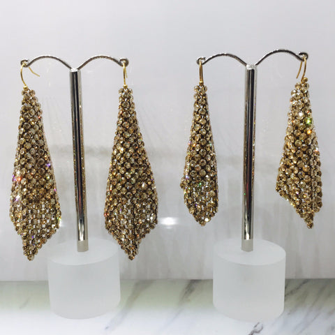 Swarovski Crystal Mesh Gold on Gold Earrings -Large