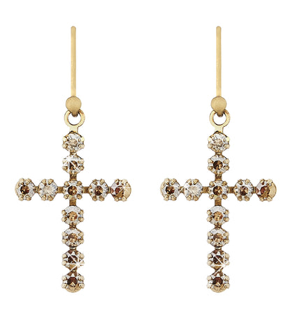 Swarovski crystal gold cross earrings