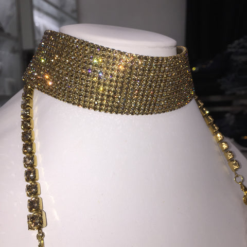 Zahli Crystal PERFECTION CHOKER in Gold Mesh on Gold Ribbon (wide)