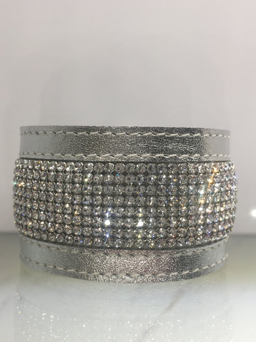 Swarovski crystal mesh cuff on silver leather -8 rows