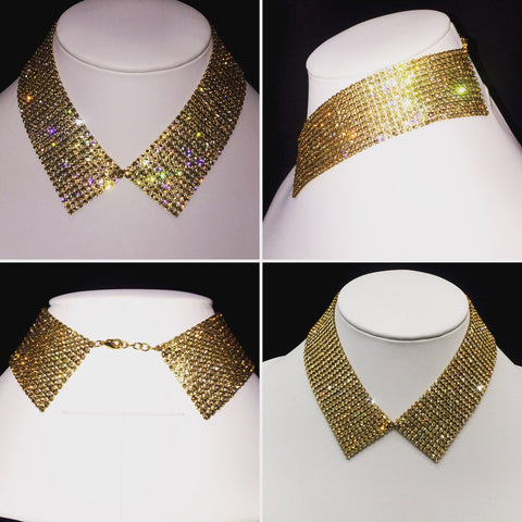 Gold Crystal Mesh Collar