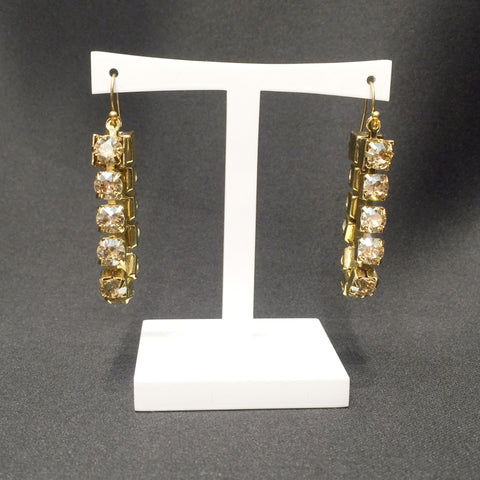 Gold Swarovski Crystal Claw Set Chain Earrings - Instagram Sale